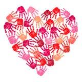 手印刷品心脏,传染媒介例证 免版税库存图片