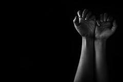 手压下和绝望的妇女 图库摄影