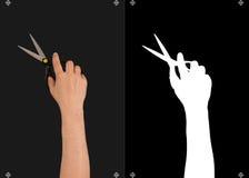 手和一个面具切开的 图库摄影