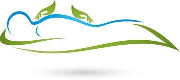 手和人,自然疗者和物理疗法商标 向量例证