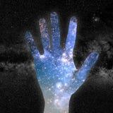 手和宇宙 库存图片
