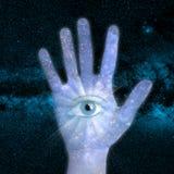 手和宇宙 库存照片