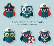 水手和海盗猫头鹰 动画片重点极性集向量 库存照片