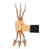 手和箭头闪电 免版税库存图片