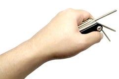 手和自行车与裁减路线的工具箱 免版税库存图片