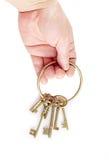 手和钥匙 免版税库存照片