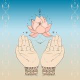 手和lotos 免版税库存图片