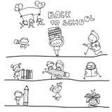 手回到学校的图画动画片 免版税库存照片