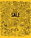 手图画购物的垂直的背景 免版税库存照片