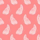 手图画乱画蝴蝶的传染媒介无缝的样式 库存图片