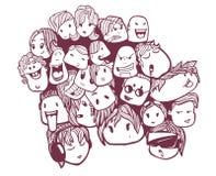 手图画乱画面孔,朋友,社会网络朋友 库存照片