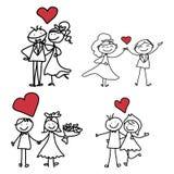 手图画动画片幸福婚礼 免版税库存图片