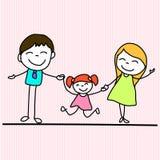手图画动画片愉快的家庭 免版税图库摄影