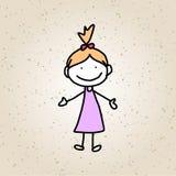 手图画动画片摘要愉快的孩子 图库摄影
