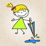 手图画动画片摘要愉快的孩子 库存图片