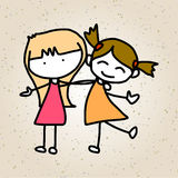 手图画动画片摘要愉快的孩子 免版税库存照片