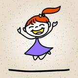 手图画动画片摘要愉快的孩子 免版税库存图片
