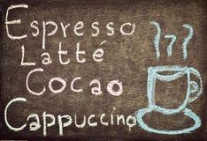 手图画咖啡和饮料菜单设计 免版税库存照片