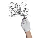 手图画在白色隔绝的城市房子 免版税库存图片