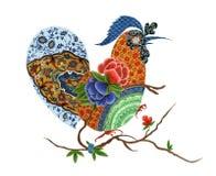 手图画套在雄鸡形状的中国装饰品 免版税库存照片