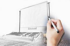 手图画打字机 免版税库存图片