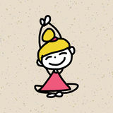 手图画漫画人物幸福 免版税库存照片