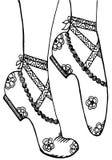 手图画穿上鞋子芭蕾舞女演员例证 库存图片