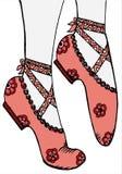 手图画穿上鞋子芭蕾舞女演员例证 免版税库存图片