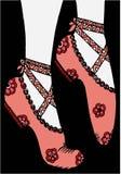 手图画穿上鞋子芭蕾舞女演员例证 库存照片