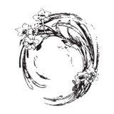 手图画葡萄酒与花纹花样花卉bac的圈子波浪 库存照片