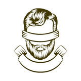手图画行家发型商标设计 也corel凹道例证向量 免版税库存照片