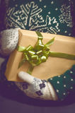 手圣诞节礼物的女孩举行 免版税库存图片