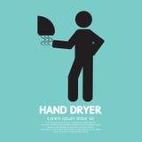 手在公共厕所的烘干机机器 向量例证