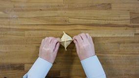 手在木桌从上面做饺子 在做饺子的顶视图 饺子,面粉,韭葱,滚针, 股票视频