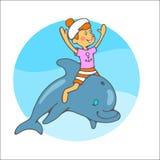 水手在海豚的男孩乘驾 库存例证