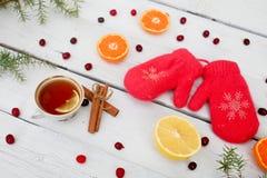手套、杯子茶和蜜桔在白色木背景  免版税库存图片