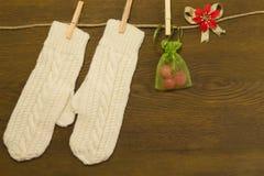 手套、糖果在袋子和一朵花圣诞节的 免版税图库摄影