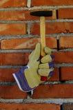 手套和锤子 免版税图库摄影