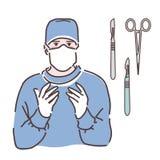 手套和面具的外科医生 医生 向量例证