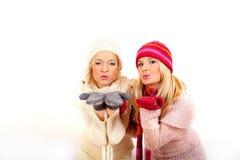 手套围巾二个冬天妇女年轻人 免版税库存照片