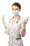 手套屏蔽护士 免版税库存照片