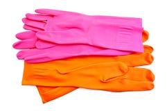 手套橙色桃红色橡胶 库存照片