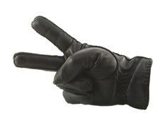 手套皮革显示的胜利 免版税库存照片