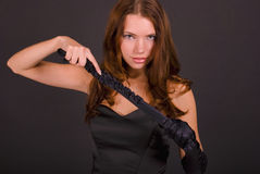 手套纵向性感的妇女 库存图片