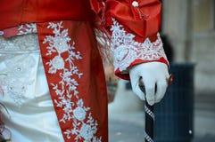 手套:威尼斯式狂欢节细节  免版税库存照片