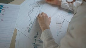 手女性财政分析在白色衬衣图画在市场形式图表排行 股票视频