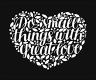 手字法做充满巨大爱的小事在黑背景的心脏 向量例证