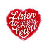 手字法印刷术海报'听您的心脏' 免版税库存照片