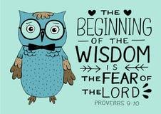 手字法和圣经诗歌智慧起点对阁下的恐惧,做用猫头鹰 库存例证