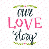 手字法词组的传染媒介例证 我们的爱情小说 能为情人节逗人喜爱的礼品券使用 库存照片